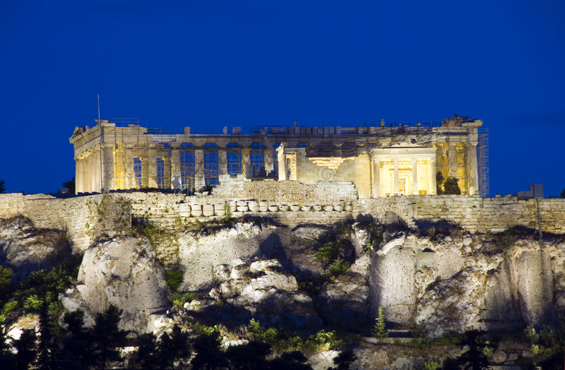 реконструкция parthenon athens Греции акрополя стоковые изображения