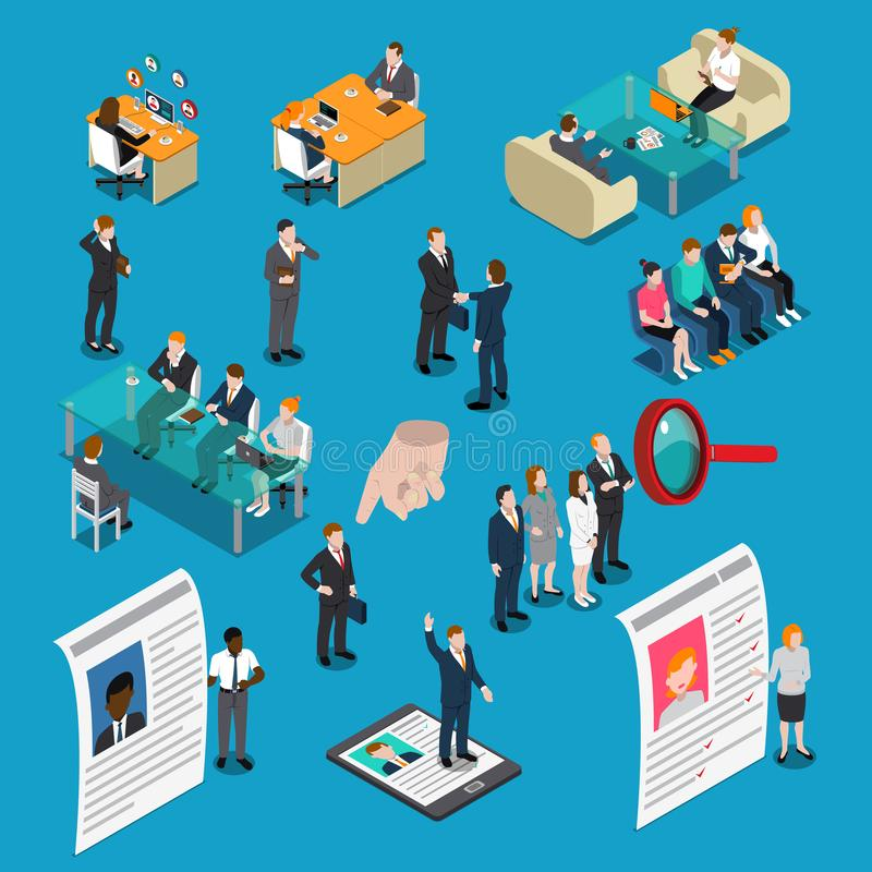 Рекрутство нанимая людей управления HR равновеликие иллюстрация вектора