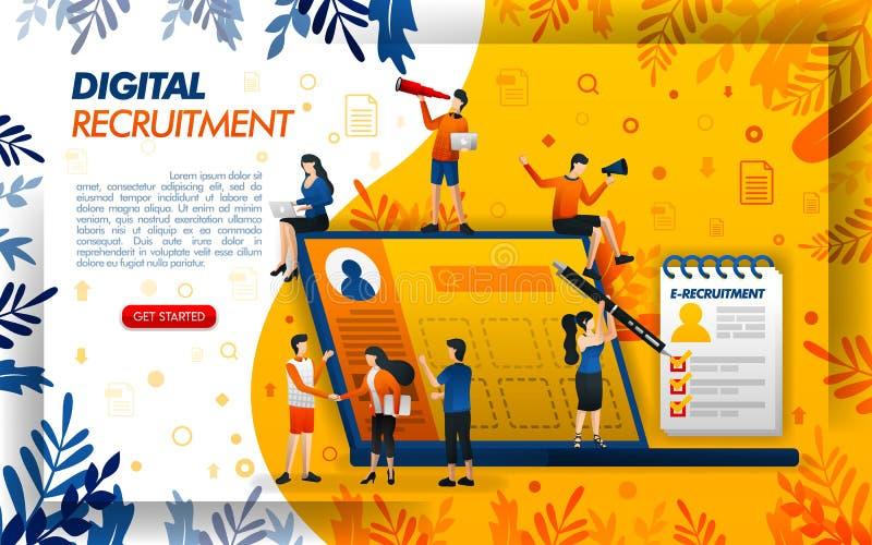 Рекрутство цифров онлайн для компаний и ищущих работы применение для HR и персонала, ilustration вектора концепции смогите исполь бесплатная иллюстрация