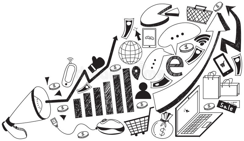 Реклама средств массовой информации дела или цифровой маркетинг интернета иллюстрация штока