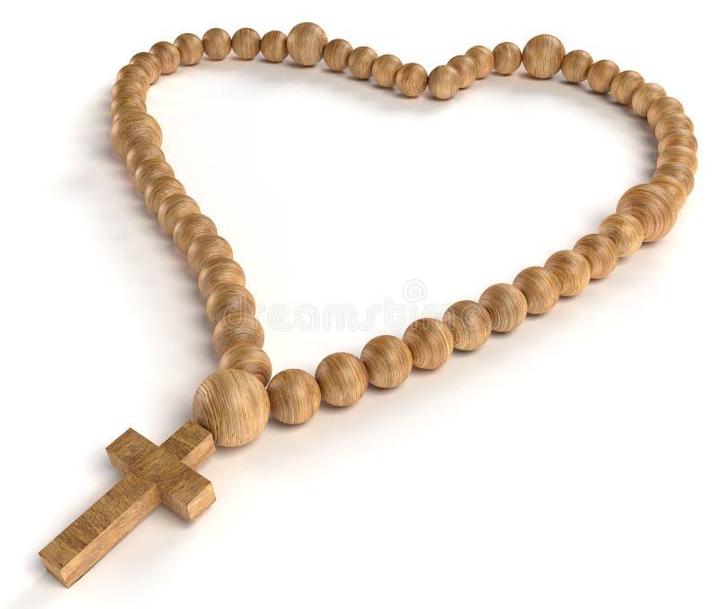 Религиозные жизнь и влюбленность: деревянные шарики chaplet или розария иллюстрация вектора