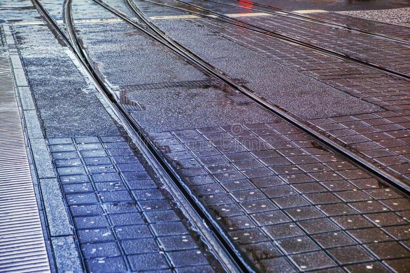 рельсы трамвая стоковое фото rf