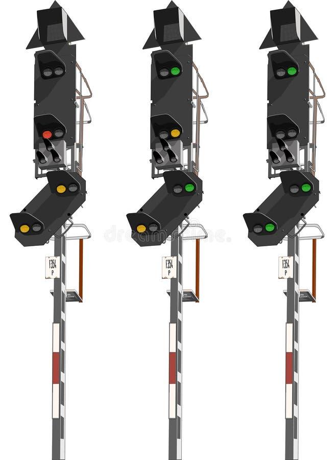 рельс сигнализирует движение иллюстрация вектора