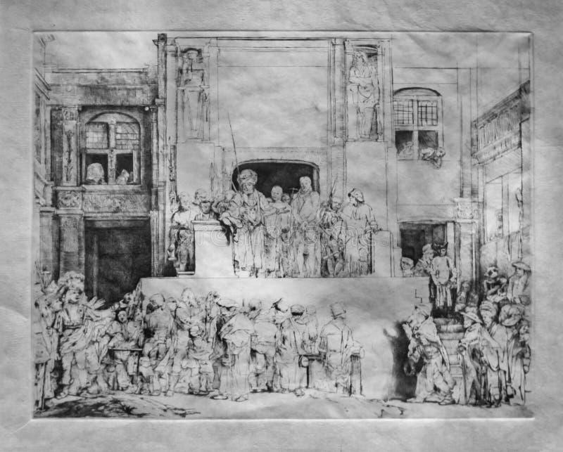 Рембрандт ван Рейн печатает, Христос показанный к людям стоковое фото