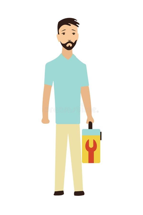 Ремонтник с toolbox Обслуживание клиента работника бесплатная иллюстрация