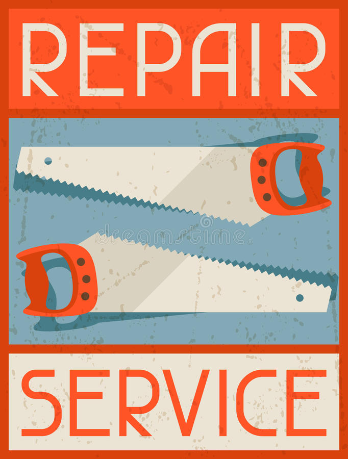 Ремонтные услуги Ретро плакат в плоском стиле дизайна бесплатная иллюстрация