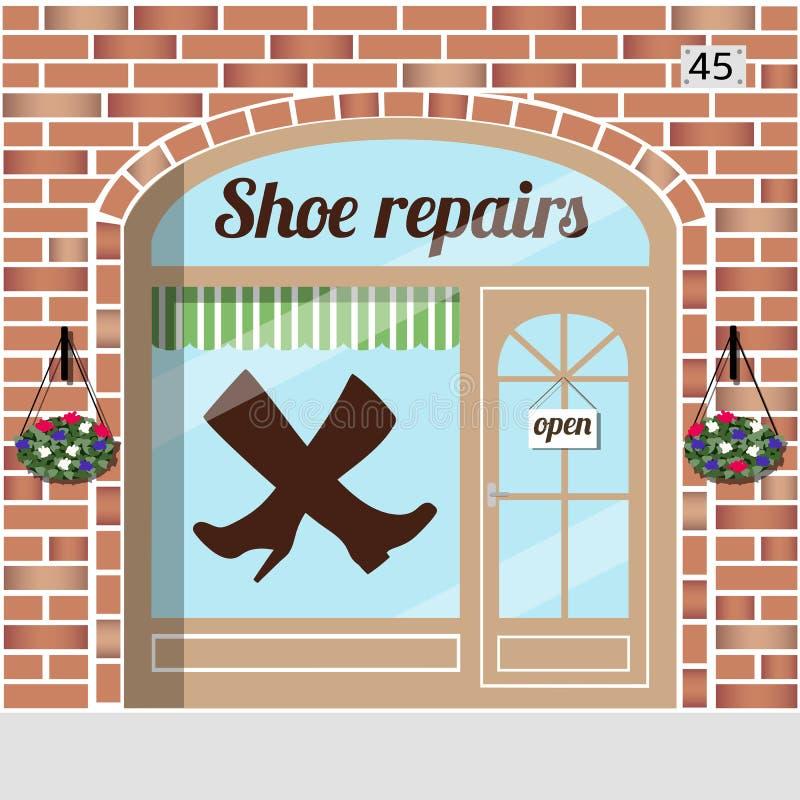 Ремонтны услуги ботинка иллюстрация вектора