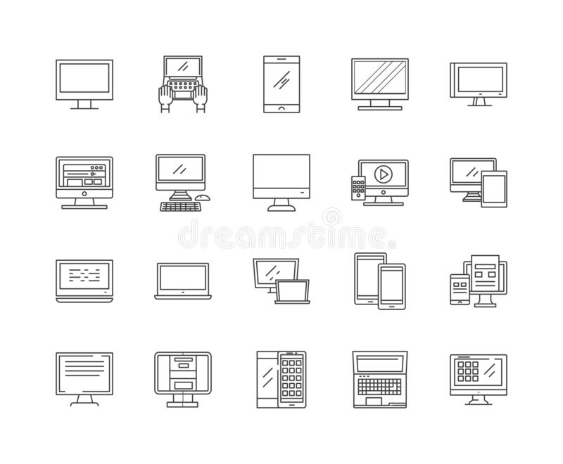 Ремонты компьютера выравнивают значки, знаки, набор вектора, концепцию иллюстрации плана иллюстрация штока