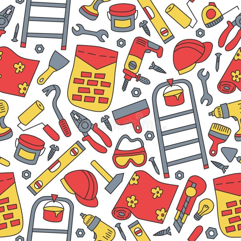 ремонты строя изоляция сверла оборудует белизну Безшовная картина в стиле doodle и шаржа цвет иллюстрация штока