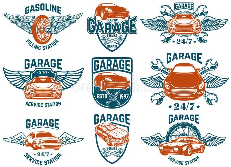 Ремонт автомобиля, гараж, автоматические эмблемы обслуживания Конструируйте элементы для логотипа, ярлыка, знака иллюстрация штока