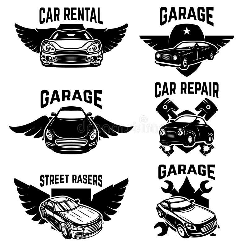 Ремонт автомобиля, гараж, автоматические эмблемы обслуживания Конструируйте элементы для логотипа, ярлыка, знака бесплатная иллюстрация