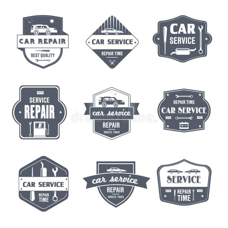 Ремонт автомобиля - винтажный комплект вектора логотипов бесплатная иллюстрация