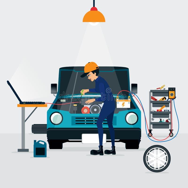 Ремонт автомобиля иллюстрация вектора