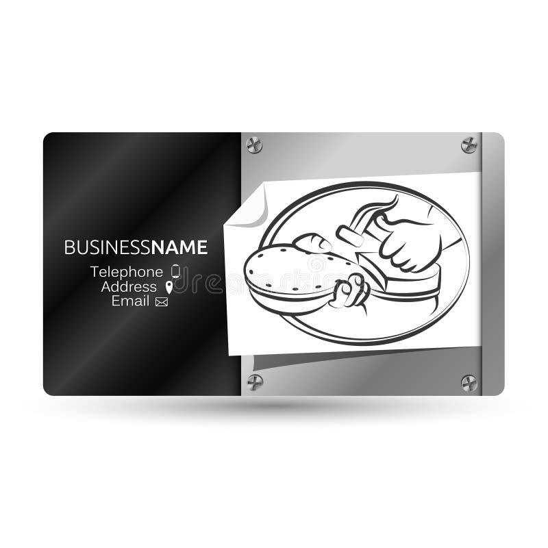 Ремонт ботинка визитной карточки иллюстрация вектора