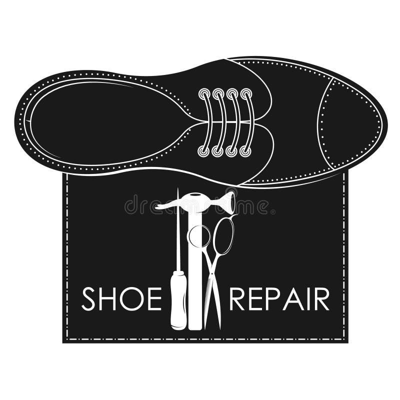 Ремонт ботинка с символом инструмента иллюстрация штока