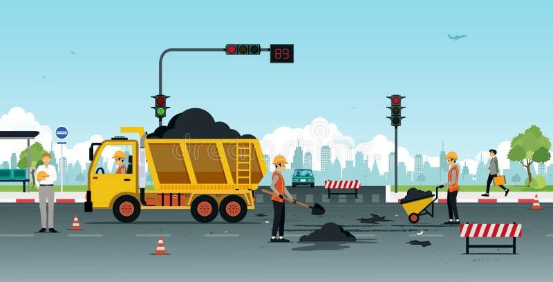 Ремонт дорожного покрытия бесплатная иллюстрация
