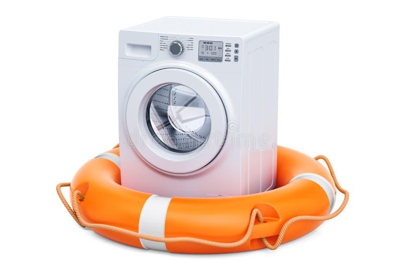 Ремонт и обслуживание концепции стиральной машины перевод 3d иллюстрация вектора