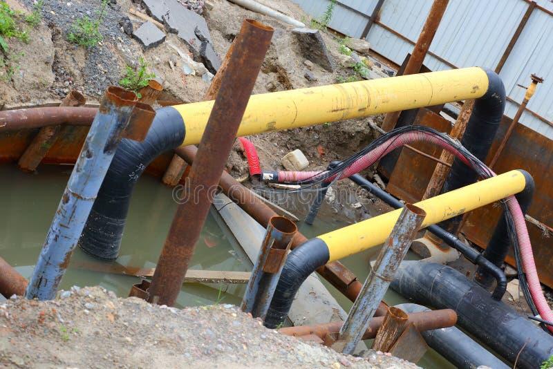 Ремонт канализационных трубов стоковая фотография