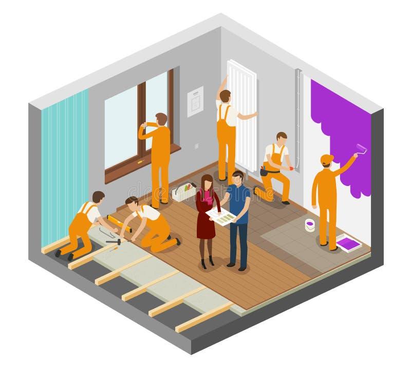 Ремонт квартиры, внутренняя концепция Конструкция, строя иллюстрация вектора иллюстрация штока