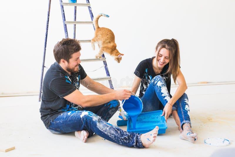 Ремонт, любимец, реновация и концепция людей - пары с котом идя покрасить стену, они смешивают цвет стоковое изображение