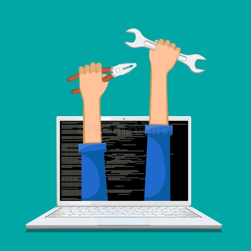 Ремонт, обслуживание и обслуживание компьютеров также вектор иллюстрации притяжки corel иллюстрация штока