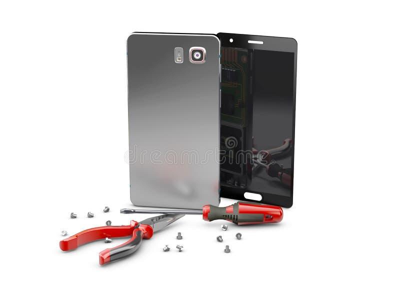 Ремонт сотового телефона Части и инструменты Smartphone для спасения, иллюстрации 3d иллюстрация штока