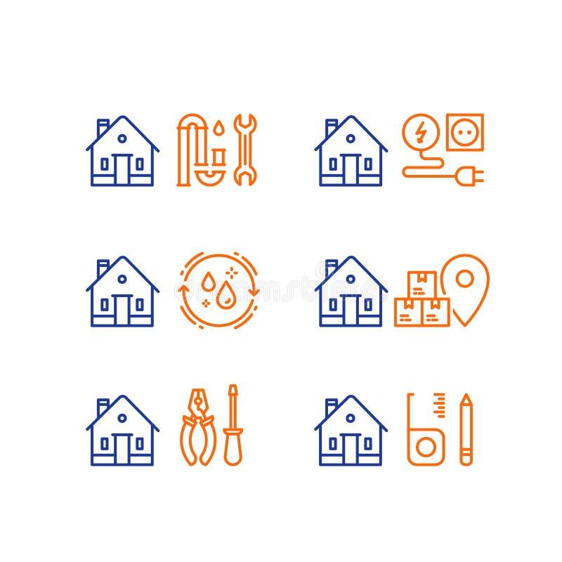Ремонт трубопровода, clog p-ловушки, обслуживание электричества, домашняя чистка, moving дом, поставка коробки, домашнее обслужив бесплатная иллюстрация