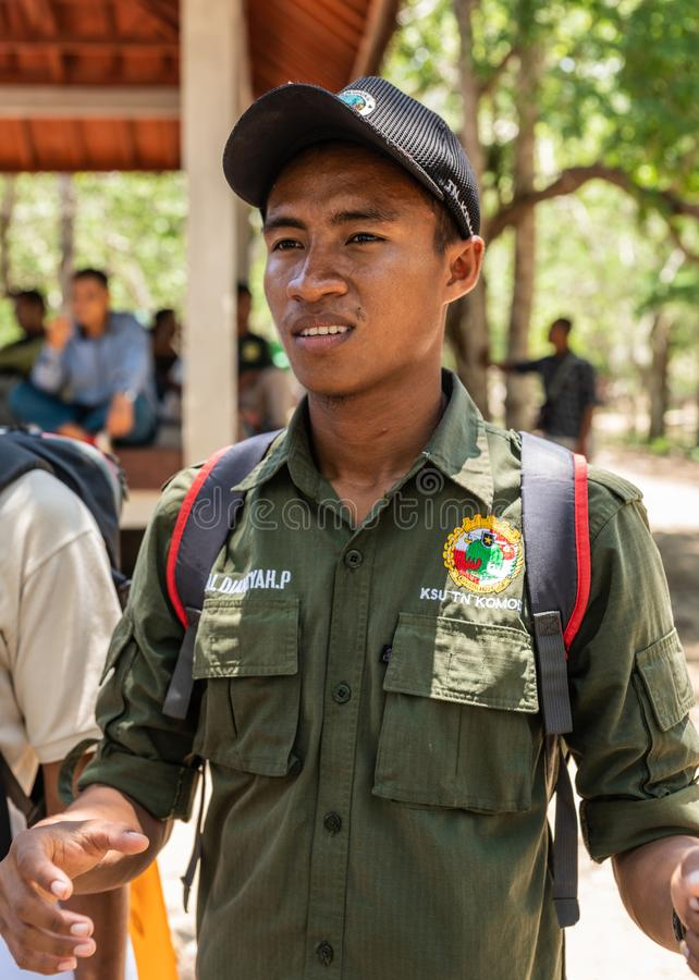 Ренджер на национальном парке Komodo, Индонезии стоковое фото rf