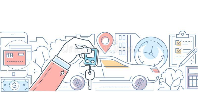 Рента автомобиля - современная линия иллюстрация вектора стиля дизайна бесплатная иллюстрация
