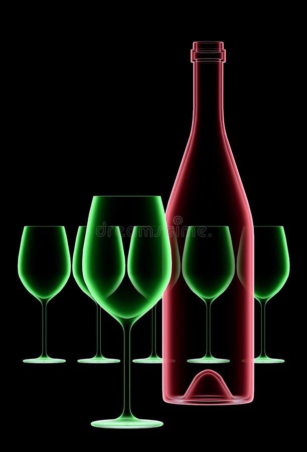 рентгеновский снимок вина бутылочных стекол иллюстрация штока
