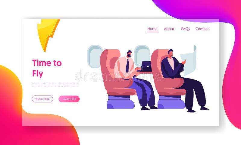 Респектабельные бизнесмены сидя в удобных местах самолета читая и работая на ноутбуке Обслуживание транспорта авиакомпании иллюстрация штока