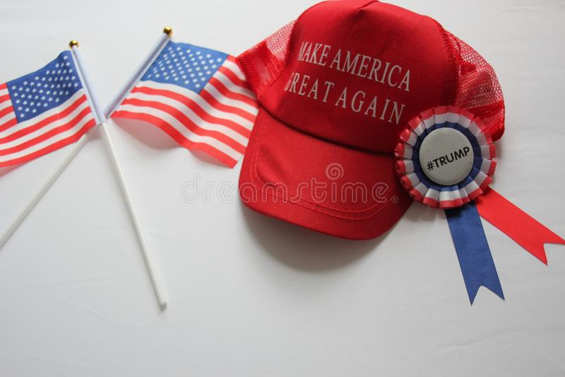 Республиканец шляпы кампании Дональд Трамп делает Америку большой снова стоковые фотографии rf