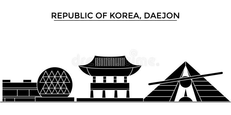 Республика Корея, горизонт города вектора архитектуры Daejon, городской пейзаж перемещения с ориентир ориентирами, зданиями, изол иллюстрация штока