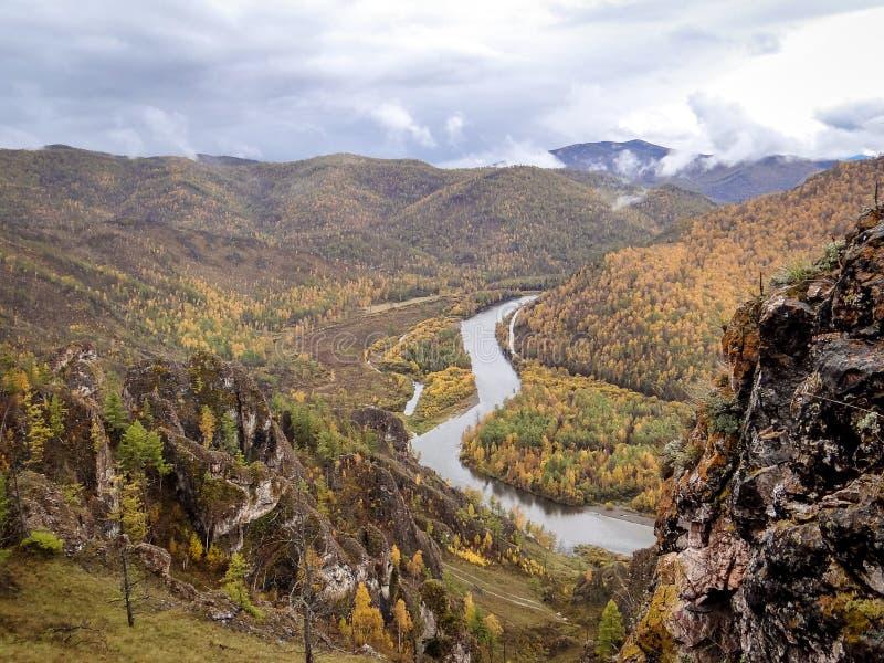 Республика Сибирь Khakassia гребня долины осени стоковая фотография rf