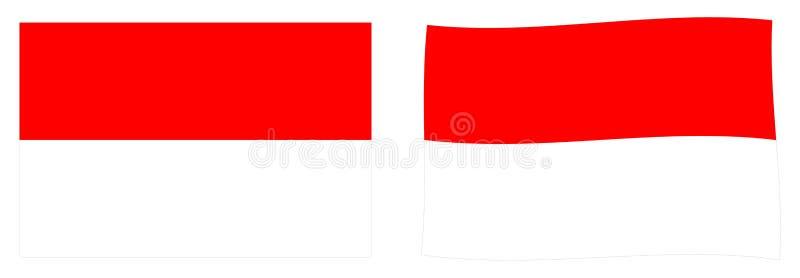 Республика флага Индонезии Простая и немножко развевая версия иллюстрация штока