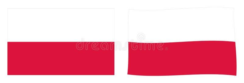 Республика флага Польши Простая и немножко развевая версия иллюстрация штока