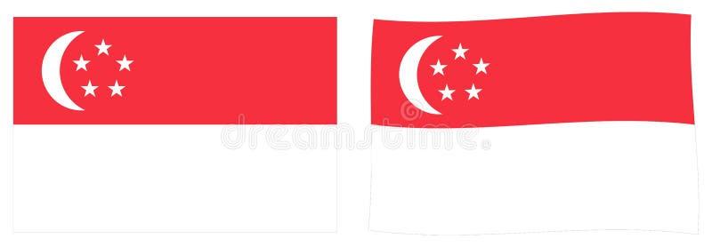 Республика флага Сингапура Простая и немножко развевая версия иллюстрация штока