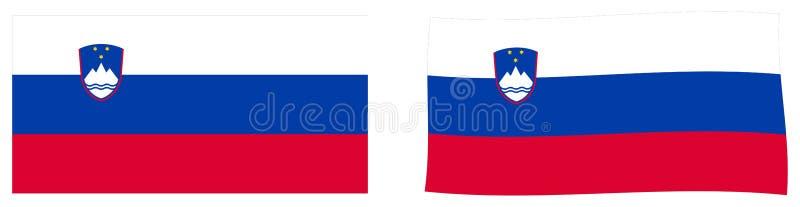 Республика флага Словении Простая и немножко развевая версия иллюстрация вектора