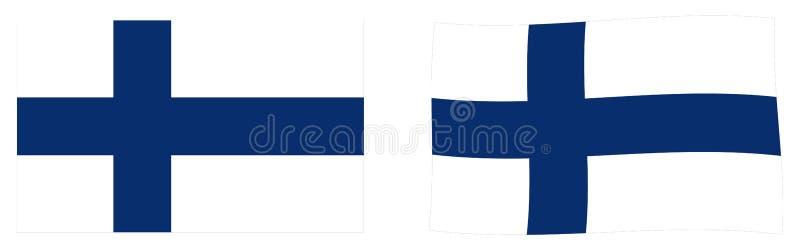 Республика флага Финляндии Простая и немножко развевая версия иллюстрация вектора