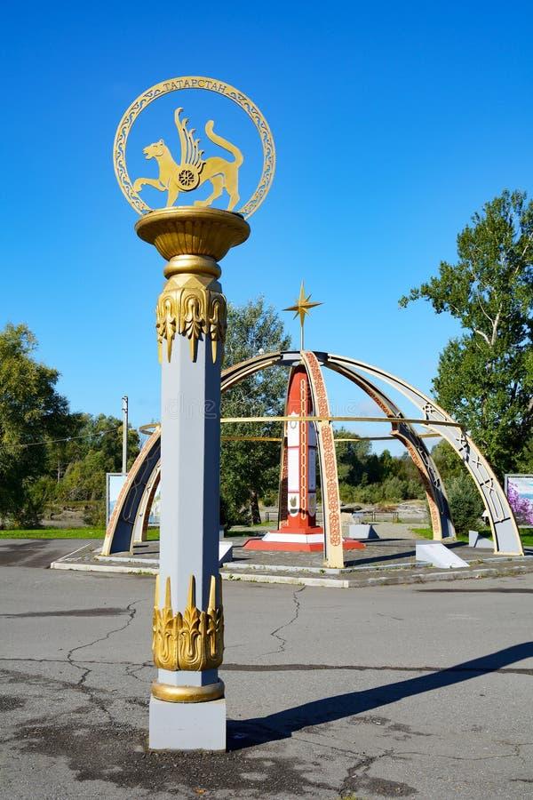 Республика Altai, часть stele†«памятный знак стоковые фото