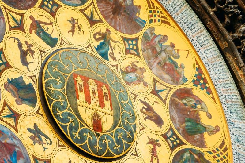 республика prague астрономических часов чехословакская Закройте вверх по фото стоковая фотография