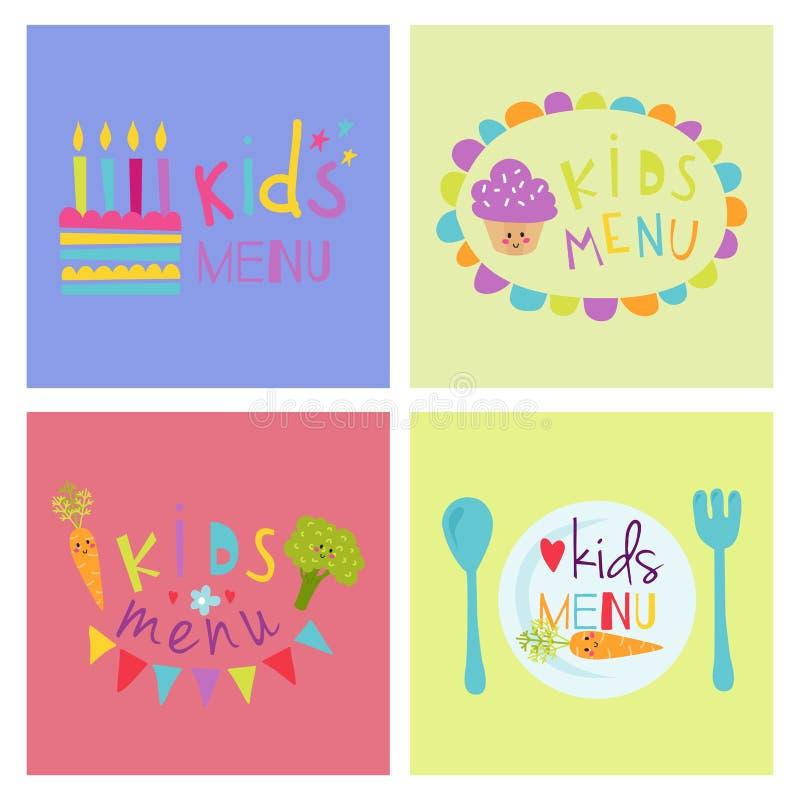 Ресторана младенца вектора знамени меню детей органической нарисованный рукой дизайн карточки свежих продуктов установленного здо иллюстрация штока