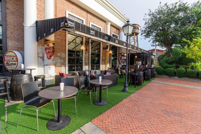 Ресторан & бар бистро кирпича на ASIATIQUE стоковые фото
