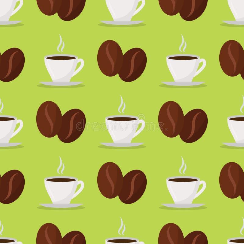 Ресторан дизайна еды предпосылки картины питья вектора фасолей кофейных чашек безшовные, меню кафа и элемент магазина иллюстрация штока