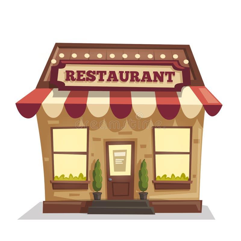Ресторан или кафе Внешнее здание иллюстрация мальчика неудовлетворенная шаржем меньший вектор иллюстрация вектора
