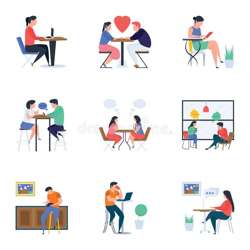 Ресторан и набор иллюстраций встреч плоский иллюстрация штока