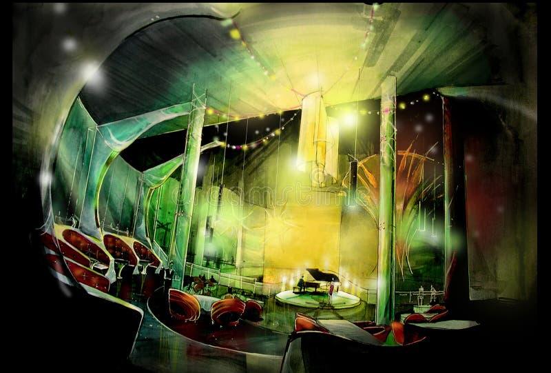 Ресторан казино с иллюстрацией салона пианиста иллюстрация вектора