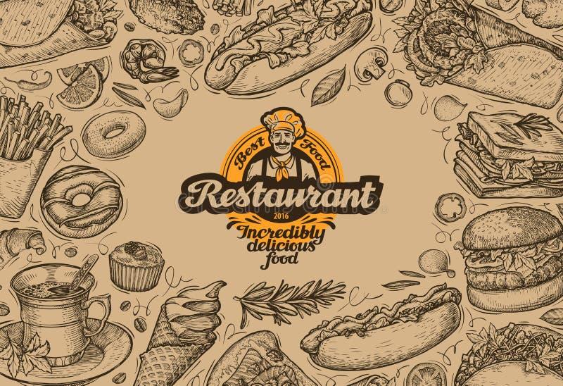 Ресторан меню дизайна шаблона, обедающий Еда нарисованная рукой бесплатная иллюстрация