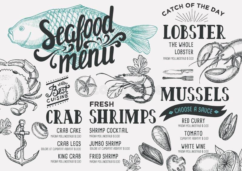 Ресторан меню морепродуктов иллюстрация штока