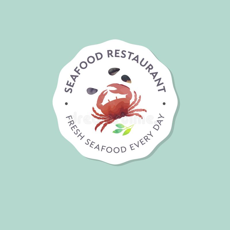 Ресторан морепродуктов и логотип рынка Красный краб, иллюстрация акварели раковин иллюстрация вектора